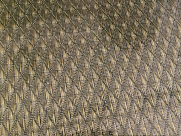 A piece of rectangular laminated glass metal mesh with unique weave inter-layer metal mesh.