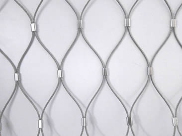 A piece of rope mesh made with ferrules.
