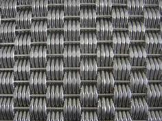 A stainless steel horizontal rod is weaved with four vertical dense stainless steel rods.